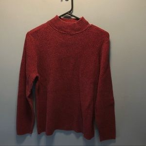 Karen Scott Red Mock Neck Sweater